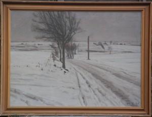 Hovevejen, fra indkørslen til Vaselund og derfra set mod syd. 1935. Maleri nr. 121.