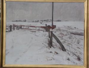 Jernbaneoverskæringen ved Kildevej sydøst for Veksø, med kig op mod Veksø. 1936. Maleri nr. 120.