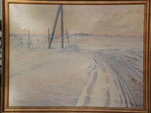 Hovevejen, kig fra Hove Lund mod syd mod Hove. 1943. Maleri nr. 116.