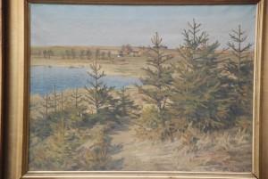 Løje Søs nordende, kig fra Ræveskoven mod Maglehøj. 1922. Maleri nr. 113.