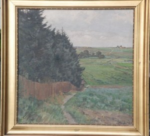 Kig fra NØ-hjørnet af Rolandsgårdens grund mod vest med Hove i baggrunden. Maleri nr. 114.