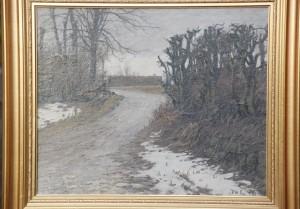 Kratvej i Måløv. Brydegårdens tag anes i baggrunden. 1916. Maleri nr. 117.