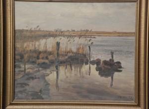 Udløbet af Værebro Å i Løje Sø. 1934. Maleri nr. 64.