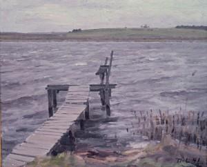Bådebro ved Løje Sø. 1941.