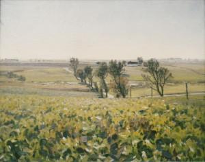 Kig fra sydkanten af Veksø Slots have mod syd langs Hovevejen.