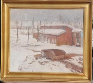 Løjesøvej. Motiv bag gården Vasehøj, set mod vest. 1942. Maleri nr. 77.