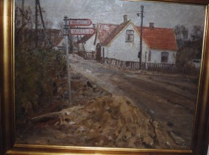 Veksø bymidte ved starten af Gl. Hovevej. 1942. Maleri nr. 36.