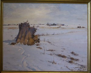 Tagrørsneg i vinterlandskab. 1932. Maleri nr. 33