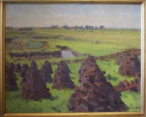 Tørvegrav med tørvestakke i forgrunden. 1940. Maleri nr. 43.
