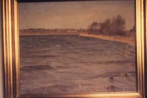 Nordenden af Løje Sø. I baggrunden gården Maglehøj. 1945.