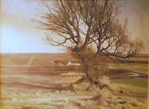 Kig mod øst ved starten af Skelhøjej. 1927. Maleri nr. 10.