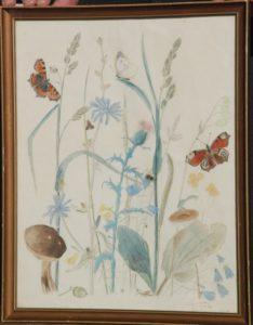 Akvarel. udkast til broderi, til Clara Wæver. 1926. Maleri nr. 101.