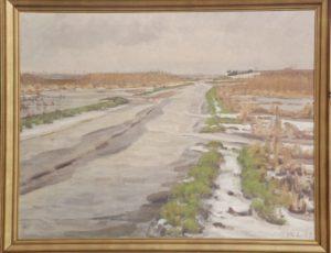 Værebro Å ud for Kildebakken, set mod vest. 1937. Maleri nr. 104.