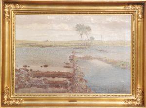Oversvømmede tørvegrave, måske ved Lundebro. 1918. Maleri nr. 108.