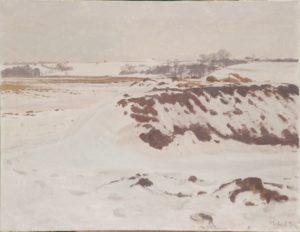 Udsigt fra Kastholm mod Løje Sø og Kildebakken. 1939. Maleri nr. 109.