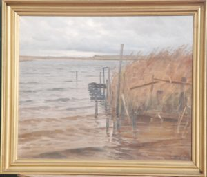 Oversvømmet bådebro ved Løje Sø. 1933. Maleri nr. 111.