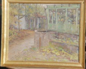 Den østlige ende af haven på Kildebakken. 1946. Maleri nr 3.