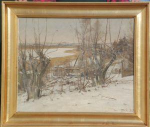 Kig fra Kildebakken op langs østsiden af Løje Sø. 1935. Maleri nr. 55.