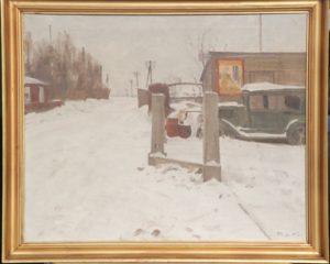 Motiv ved starten af Gammel Hovevej, lige bag nuværende pizzeria. 1942. Maleri nr. 56.