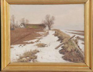 Kig fra kanten af Præstesødalen mod vest, hvor Hovevejen løber forbi gården Vasehøj