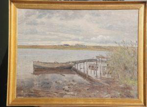 Bådebro neden for Kildebakken, i baggrunden gården Egedal. 1933. Maleri nr. 63.
