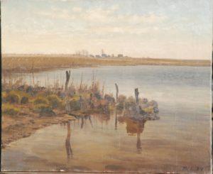 Udløbet af Værebro Å i sydenden af Løje Sø. 1934
