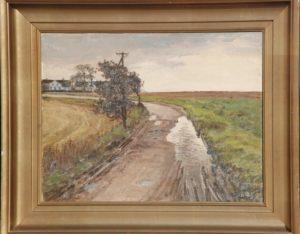Kig sydpå langs Hovevejen mod gården Vasehøj. Ukendt år. Maleri nr. 68.
