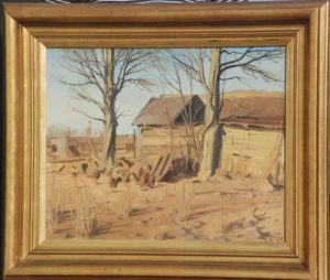 Hønsehus, formentlig ved Brøndstedgård. 1926. Maleri nr. 71