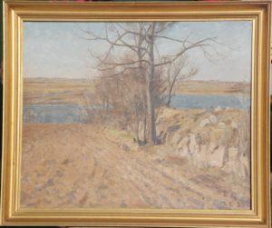 Diget i nordskellet af Th. larsen ejendom, kig mod Løje Sø. 1935. Maleri nr. 72.