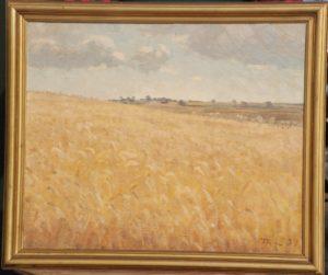 Motiv øst for Hovevejen, set mod nord mod Veksø. 1937. Maleri nr. 76.