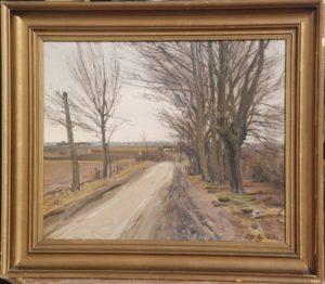 Hovevejen, set mod syd fra udmundingen af Løjesøvej. 1921. Maleri nr. 78.