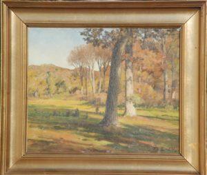 Skovmotiv, muligvis Jonstrupvang. 1924. Maleri nr. 82.