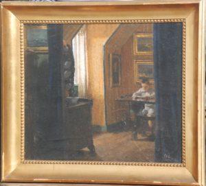 Interiør. Det vides ikke hvem drengen er. 1910. Maleri nr. 83.