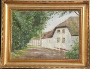 Gård på Fyn, sandsynligvis i Slevstrup. 1902. Maleri nr. 89.