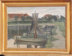 Havnemotiv, muligvis Kerteminde. 1909. Maleri nr. 90.