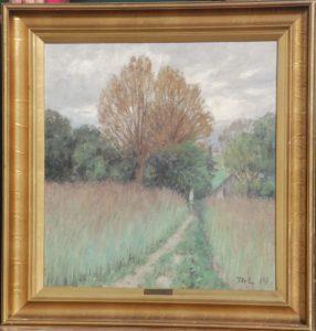 Ukendt motiv, måske huset på Løjesøvej. 1914. Maleri nr. 94.