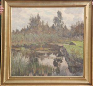 Friskgravet tørvegrav fra 1. verdenskrig, måske ved Egedal. 1923. Maleri nr. 96.