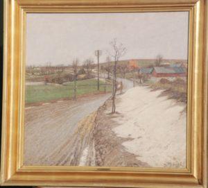 Frederikssundsvejen mellem Ballerup og Måløv, nuværende Lindbjergvej. 1916. Maleri nr. 97.