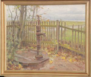 Vadnpost, formentlig i Th. Larsens have. 1938. Maleri nr. 98.