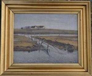 Værebro Å syd for Løje Sø, kig mod gården på Kastholm. 1922. Maleri nr. 192.
