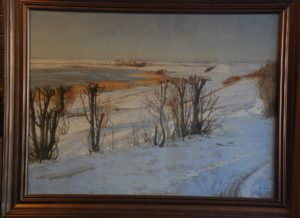 Kig op langs Løje Sø mod nord fra Kildebakken. 1919. Maleri nr. 41.