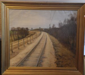 Jernbanen set mod vest med læssespor for tørv. 1921. Maleri nr. 30.