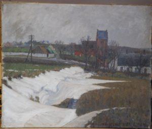 Parti ved Måløv Kirke. 1914.
