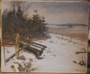 Muligvis motiv nær Lærkebækvej/Mosevej med kig mod syd mod Edelgave (?). 1932.