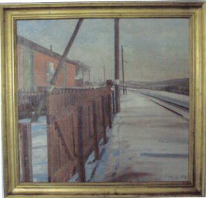 Pakhus ved Veksø Station. 1943. Maleri nr. 5.