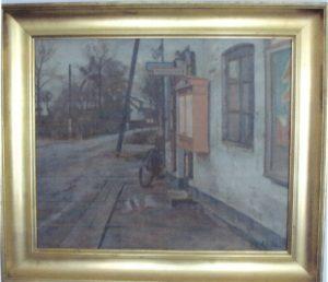 Kiosken på Veksø Bygade, ved hjørnet af Toxværdsvej. 1936. Maleri nr. 6.