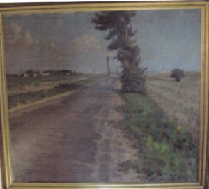 Veksø By set fra syd, malet ca hvor institutionen ligger i dag. 1936. Maleri nr. 7.