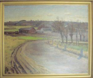 Vårsøgård, kig mod sydøst fra bakken ved Søsum. 1940. Maleri nr. 11.