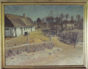 Jensine Knudsens hus i Smedestræde. 1943. Maleri nr. 20