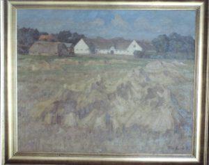 Skibstedgård ser fra syd. 1939 (gården brændte 1942). Maleri nr. 21.